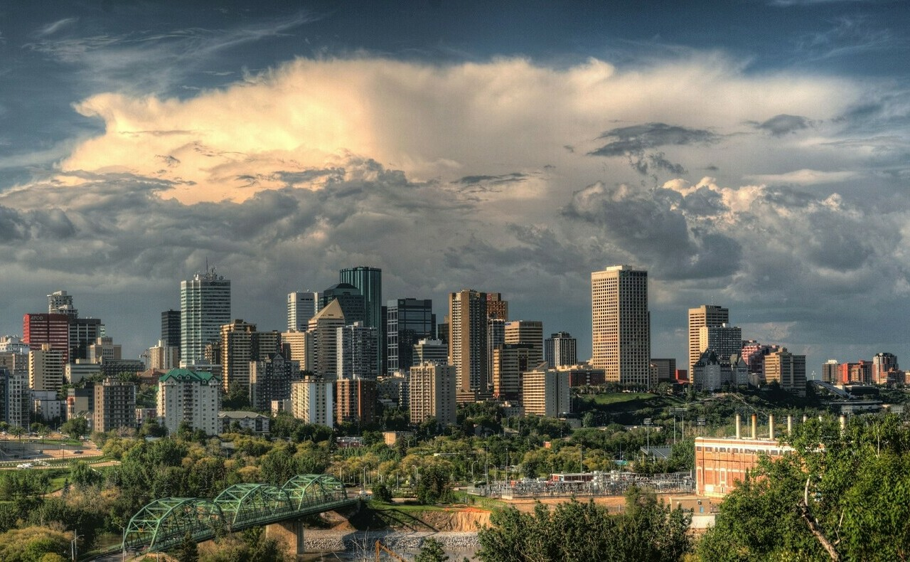 Skyline of the Edmonton downtown from across the North Saskatchewan River