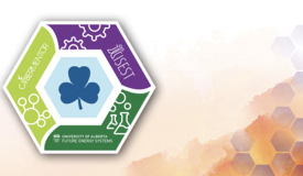 Girl Guides patch: a hexagon, each contributing organization's logo represented along two sides with the Girl Guides clover in the centre.