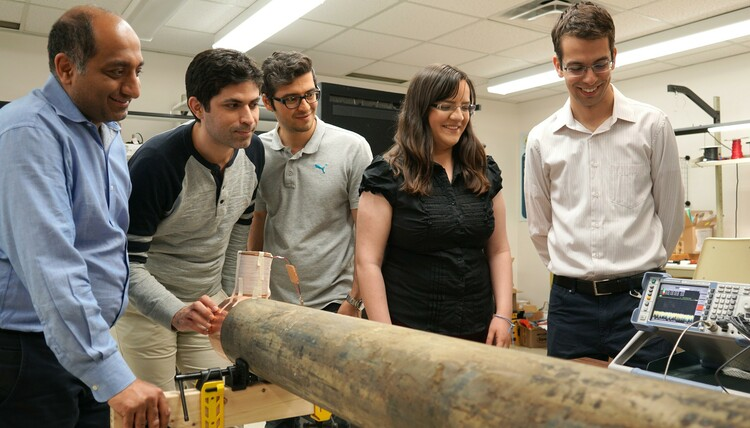 Future Energy Systems Principal Investigator Pedram Mousavi and his team in the Intelligent Wireless Technology Lab.