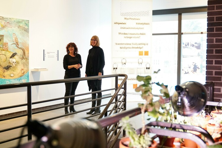 Principal Investigators Natalie Loveless and Sheena Wilson in the FAB Gallery before the opening of the 'Prototypes for Possible Futures' exhibition.