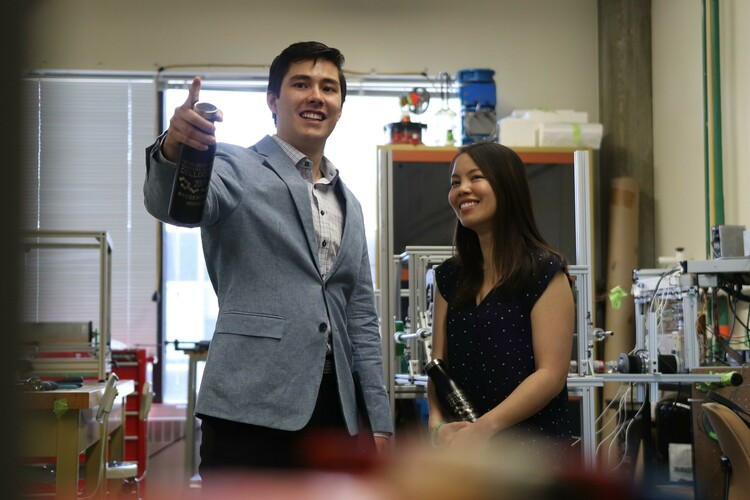Future Energy Systems graduate students Michael Nicol-Seto and Vivian Giang in the Dynamic Thermal Energy Conversion Laboratory.