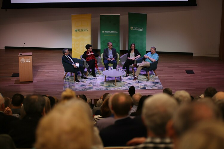 Director Anne Naeth and researchers John Parkins, Steve Bergens, and graduate student Maggie Cascadden participate in a panel discussion at the Calgary Public Library.